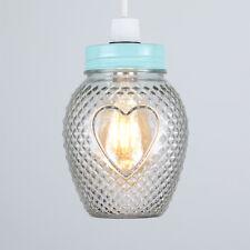Lovely  Heart Jam Jar Light Shade Bedroom  Home NEW Glass Duck Egg Blue Lid