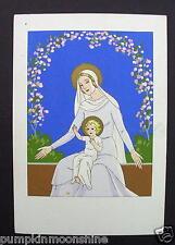#H274- Vintage Giovanni Meschini Xmas Greeting Post Card Madonna & Child Blue