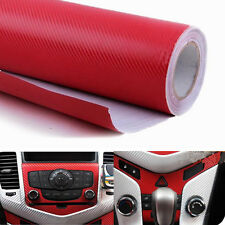 "3D 12"" x 50"" DIY Red Carbon Fiber Vinyl Car Wrap Sheet Roll Film Decal Sticker"