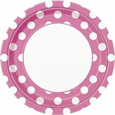 """PINK POLKA DOTS - 8 Round Paper Plates -  (23cm/9"""") Spots Birthday Party"""