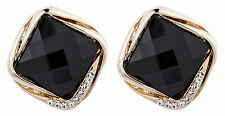 CLIP ON gold plated vintage BLACK STONE & CRYSTALS stud EARRINGS - Betty B