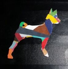FUNKY BASENJI STANDING LEATHER ON CANVAS PICTURE 20cm x 20cm