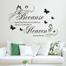 Because Heaven Wall Quote Words Decals Vinyl Art Room Decor Peel and Stick P6