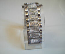 Mens silver finish hip hop bling designer fashion rapper style  bracelet