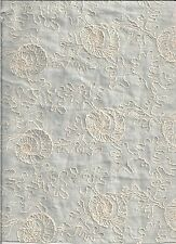 "SCHUMACHER 54"" EMBROIDERED DESIGN ON LIGHT BLUE/BABY BLUE ALL COTTON LINEN LOOK"