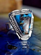 Sterling silver Navajo made ring w/ rare Natural Candelaria Turquoise stone S6.5