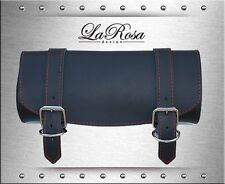 """12"""" LaRosa Black Leather Red Stitch Harley Softail Sportster Dyna Front Tool Bag"""