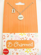 "NEW B Charmed ""B Happy"" Sterling Silver Pendant Necklace"