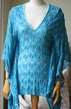 MISSONI MARE TURQUOISE COVER UP KAFTAN DRESS SMALL UK 8/10 US 4 IT 40