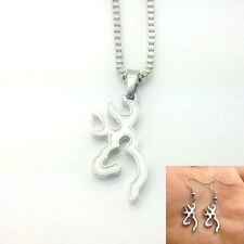 NEW 1 set of white Browning Deer Necklace & earrings Fashion Jewelry .