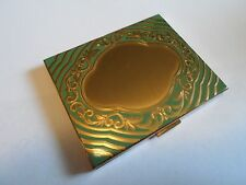 Vintage ELGIN AMERICAN Gold Tone & Green Enamel Make-Up Powder Compact,