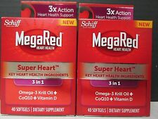 2 SCHIFF MegaRed 3-in-1 SUPER HEART OMEGA-3 CoQ10 Vitamin D 2x40ct 1/17 DE 6798