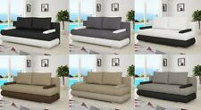 NEW MILO SOFA BED FAUX LEATHER + FABRIC WITH STORAGE BONELL SPRINGS  8 COLOURS