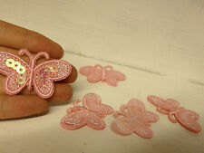 10 pink butterfly appliques motifs patch sequin embroidered sew on wedding craft