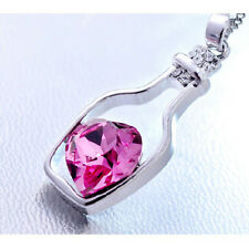 Womens 9K White Gold Filled Pink Rhinestone Heart Chains Necklace with Pendants