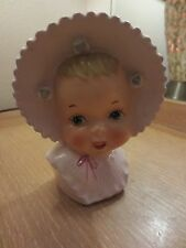"VINTAGE UCAGCO BABY PINK BONNET HEAD VASE PLANTER 6"" WITH STICKER"