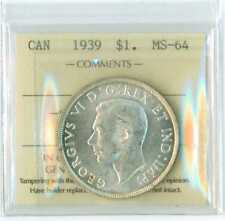 1939 Canada Silver Dollar  ICCS MS 64 NICE WHITE