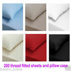 NEW 200 THREAD COUNT LUXURY 100% EGYPTION COTTON FITTED BED SHEET PILLOW CASES