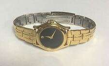 Genuine Ladies Womens Movado Museum Black Gold Tone 28mm Quartz 87-E4-0823 Watch