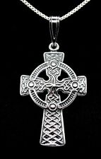 "Celtic Cross pendant 1"" - 925 Sterling Silver Irish Celtic necklace gift boxed"