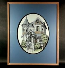 Limited, Numbered, Hand Colored Victorian House SIGNED by Debbie Patrick Framed