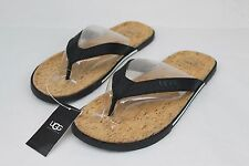 UGG Bennison II Leather Cork Men's Flip Flops Thongs Black Size 9 US