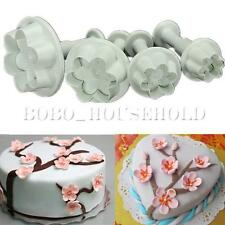 4Pcs Cake Biscuit Cookies Decorating Plum Flower Plunger Fondant Cutter Mold