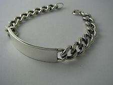 STERLING SILVER CHAIN CARB LINK CHAIN MENS CHAIN I.D BRACELET by Forstner c1970s