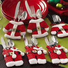 6X Weihnachten Xmas Abendessen Tischdeko Besteck Kleidung Halter Santa Taschen