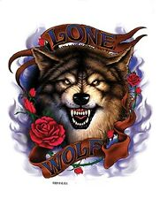 LONE WOLF BLUE FLAMES & RED ROSES BIKER BIKE STICKER/VINYL DECAL by Hot Leathers
