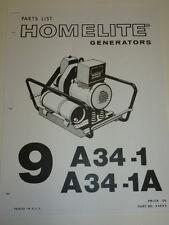 HOMELITE GENERATOR PARTS MANUAL 9 A34-1 9 A34-1A # 24693