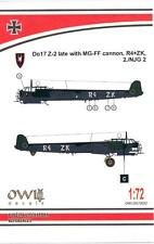 Owl Decals 1/72 DORNIER Do-17Z-2 LATE VERSION WITH MG-FF CANNON