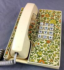 70's Western Electric Telephone Touch Tone Phone Floral Cream Color 12 Button