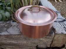 Lovely Stamped French Vintage Stock Pot With Lid Copper Pan (Ref T2/18)