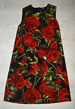 DOLCE & GABBANA BLACK RED ROSES VISCOSE CLASSIC SHIFT DRESS SIZE 40IT 8 S ITALY