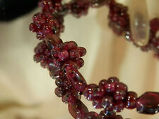 Very Fab Vintage Genuine Garnet Bead Cluster Necklace- Beautiful 288j7