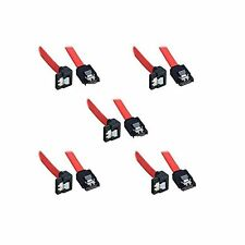 5 Pack Bipra SATA III cable Red (40cm) Locking Latch Straight to Right Angle