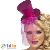 PINK MINI TOP HAT ON HEADBAND DANCER BURLESQUE ladies womens fancy dress costume