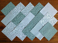 COTTON FABRIC PATCHWORK SQUARES PIECES CHARM PACK 2, 3, 4, 5 INCH ~ SAGE GREEN