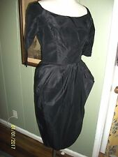 STUNNING VINTAGE 1950'S 50S DESIGNER ROBERT MORTON BLACK SILK TAFFETA DRESS M