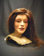 Antique Wax Bust with Glass Eyes and Human Hair (Rare Curio Item)