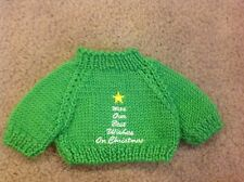 Christmas Tree Star Green LARGE Knit Teddy Bear doll Dog Sweater Clothing Cloth