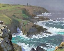 ORIGINAL MICHAEL RICHARDSON Enys Zawn Pendeen Watch Cornish coast  OIL PAINTING