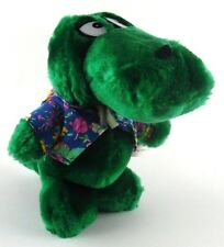 Sea World Green Alligator Gator Plush in Hawaiian Shirt Vintage Korea Souvenirs