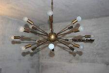 18 Lights Mid Century Modern Antique Brass Sputnik Chandelier light fixture