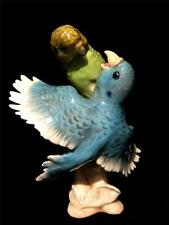 Rare High Gloss Model of Goebel Budgerigars Feeding 1968