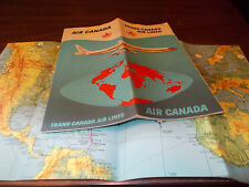 1961 Trans-Canada Airlines Route Map and Brochure / Nice graphics!!