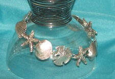 "925 Sterling Silver Sea Shells starfish sand dollars Chain Bracelet 7.7"" 20.3 gr"