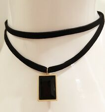 Gold Gothic Rock Black Gem Pendant Velvet Double Layer Choker Necklace Chain