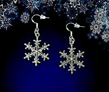 BUY 3 GET 1 FREE~SILVER SNOWFLAKE DANGLE EARRINGS~CHRISTMAS GIFT FOR HER WOMEN